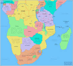 African Countries Map Amateur Radio Prefix Map Of Southern Africa