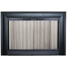 living room wooden surround stainless glass fireplace door grate