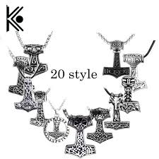 wholesale 20 pc antique silver plated thor hammer pendant necklace