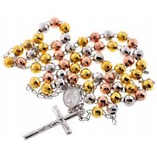 mens rosary color silver diamond cut bead mens rosary 8 mm 32 inches