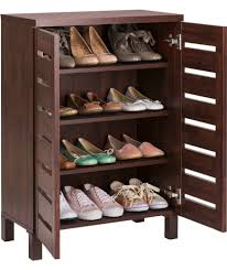 Baxton Studio Glidden Shoe Cabinet by Buy Slatted 2 Door Shoe Storage Cabinet Mahogany Effect At Argos