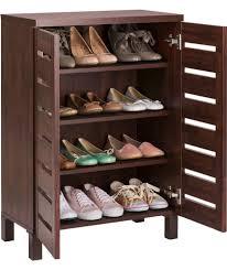 Storage Furniture Buy Slatted 2 Door Shoe Storage Cabinet Mahogany Effect At Argos