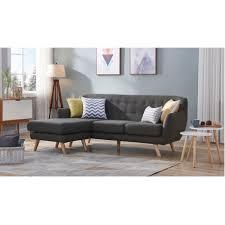 canap d angle r versible canapé d angle réversible tissu gris foncé pieds bois scandinave 207 cm