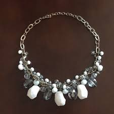white crystal necklace images Jewelry beautiful gray white crystal necklace poshmark jpg