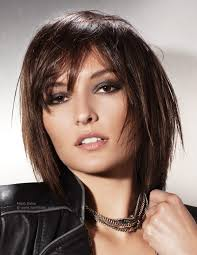 neck length short to medium hairstyles with bangs