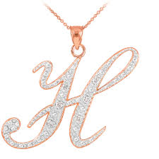 gold letter necklace pendants images 14k rose gold letter script quot h quot diamond initial pendant necklace jpg