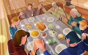 thanksgiving dinner family prayer food turkey vector hd