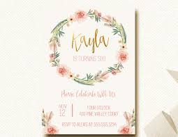 boho birthday invitation invite floral crown flower wreath gold