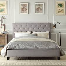 Upholstered Platform Bed King Inspire Q Kingsbury Grey Linen Tufted King Sized Upholstered