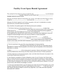 free facility event space rental agreement template pdf word