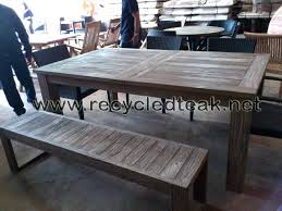 Patio Table Wood Bala A Dining Table And Set Of 2 Benches In Solid Wood And Blue