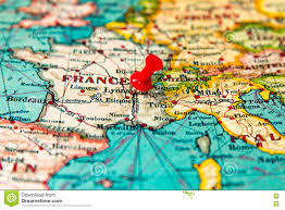 Map Of Lyon France by Lyons France Pinned On Vintage Map Of Europe Stock Photo Image
