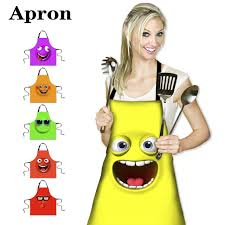 kitchen emoji women girl cooking apron 3d vivid expression printing apron for