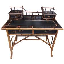 Antique Writing Desk For Sale English Faux Bamboo Black Lacquered Writing Desk Circa 1830