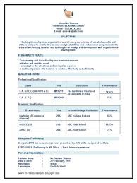 Sample Resume For Ca Articleship Training Chartered Accountant Ca Articleship Resume Sample