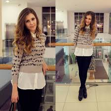 black sweater with white collar mayer house bird print sweater bershka white shirt with