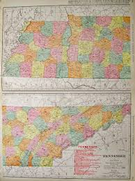 Tennessee Map With Counties by Prints Old U0026 Rare Tennessee Page