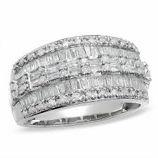 zales wedding rings for 1 ct t w baguette and three row ring in 10k white