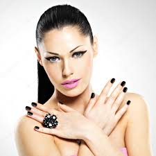 face of the beautiful woman with black nails and pink lips u2014 stock