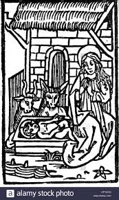 Medieval Birthing Chair Religion Jesus Christ Birth Christ Child In The Cradle Woodcut