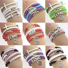 infinity bracelet leather images Online cheap silver infinity rudder anchor charms leather suede jpg