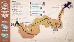 Grand Canyon On A Map Rafting Trip Planning Guide Grand Canyon Whitewater
