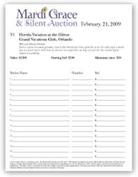 free silent auction bid sheet template uvcxtlpx bunco