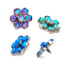 blue opal earrings 14g titanium bezel set synthetic opal flower tops invictus body