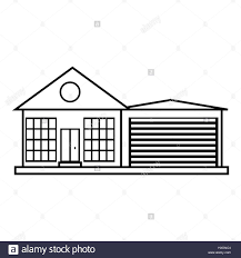 house outline big house with garage icon outline style stock vector art