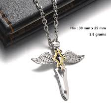 gold sterling silver necklace images Blue sweet couple necklaces cross wing sword necklaces for jpg
