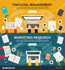 banner financial management marketing research flat stock vector
