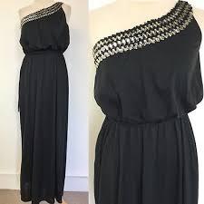 vintage dress 70 s slinky true vintage 70 s shubette black slinky grecian maxi dress sequin