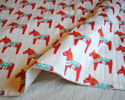 Organic Baby Bedding Crib Sets by Organic Baby Quilt Dala Horses In Red Baby Quilt Organic