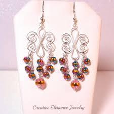 Colorful Chandelier Earrings Chandelier 92 5 Sterling Silver Glass Beaded Earrings Www
