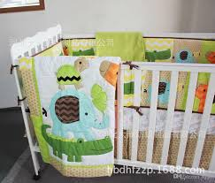 3d cartoon animal embroidered baby bedding 7 item quilt bumper