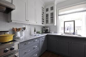 white and gray kitchen ideas two tone kitchen cabinets grey and white images about on white