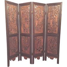 antique room divider vintage oriental privacy screen pressed wood great detailing brass