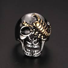 skull gothic rings images Men 39 s skull bone gothic rings with gold color scorpion jpg