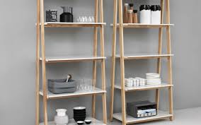one step up bookcase low white steel and ash