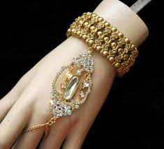 wedding jewelry bracelet crystal images Gold gatsby bracelet wedding jewelry bracelet with ring crystal jpg