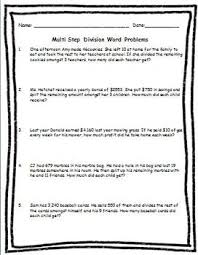 all worksheets multi step multiplication and division word
