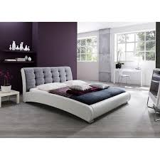 Leather Upholstered Bed Guerin Contemporary White Faux Leather And Grey Fabric Upholstered