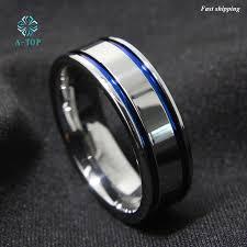 free wedding band 8mm men s tungsten carbide ring blue stripe wedding band