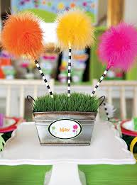 dr seuss centerpieces vibrant dr seuss inspired lorax birthday party lorax and