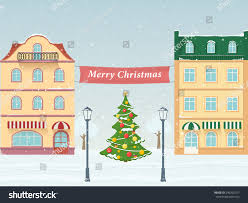 merry christmas on streets european city stock vector 540302017