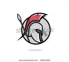 spartan head badge illustration spartan helmet stock vector