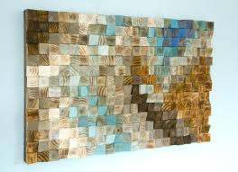 wood wall art mosaic office wall decor geometric art 24 x 36