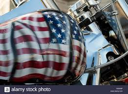 Harley Davidson Flags Close Up Of A Harley Davidson Motorbike With The Flag Of The