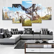 online buy wholesale dawn art from china dawn art wholesalers modular 5 piece home decor wall art poster zero dawn game modern paintings on canvas wall
