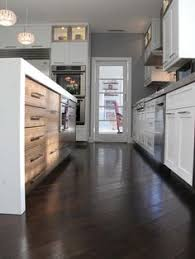 Kitchen Hardwood Floors by Contemporary Style Kitchen With Dark Chocolate Colored Wood